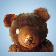 """Very old jointed Mohair Teddy bear with googly eyes 21"""" worn and loved"""
