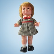 Vintage Plastic tin Japan wind-up walker doll original works KANTO 1950's