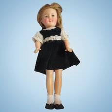 """Vintage 1950's IDEAL Shirley Temple 12"""" doll in original velvet dress and shoes"""