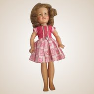 "12"" Shirley Temple doll in original Hard to find pink rick rack dress tagged 1950's"