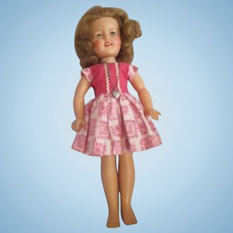 """12"""" Shirley Temple doll in original Hard to find pink rick rack dress tagged 1950's"""