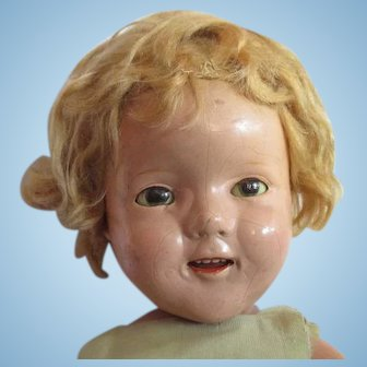 """Very old composition Shirley Temple original IDEAL doll 19"""""""