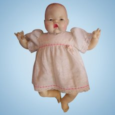 "Thumbelina doll 1980's IDEAL baby doll 1983 in original dress 17"" Newborn"