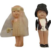 "3"" KEWPIE style Bride and Groom Flapper era dolls celluloid excellent shape wedding toppers"