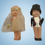 """3"""" KEWPIE style Bride and Groom Flapper era dolls celluloid excellent shape wedding toppers"""