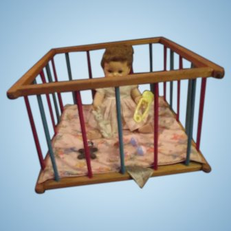 """American Character 14"""" Tiny Tears Baby in her wooden playpen crib with toys glass bottle more"""