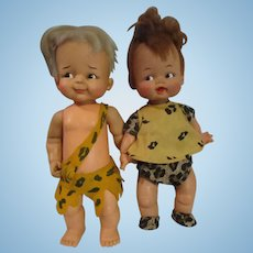 Flintstones Pebbles and Bam Bam dolls by IDEAL 1960s jointed arms