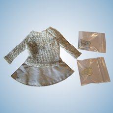 Barbie original fashion clothing SILVER SPARKLE #1885 with clutch shoes