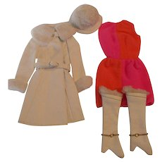 Vintage Barbie clothing fashion outfit #1491 Red, White and Warm original