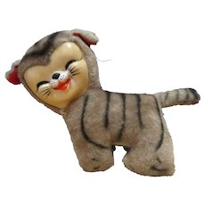 Vintage Rushton style rare tabby cat rubber face plus toy made in Japan