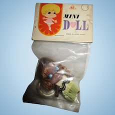 Vintage 1960's mini hula doll black liddle kiddle clone keychain MIP