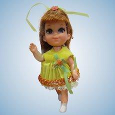 Mattel 1968 Shelia  Liddle Kiddles Skediddler doll with skediddle walker