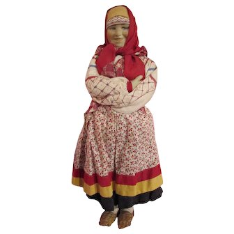 "Large Vintage (1920s-1930s) Regional costume Soviet/Russian Stockinette cloth Doll 15"""