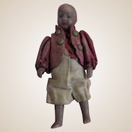 """Tiny strung 2-1/2"""" German miniature black doll in elaborate outfit with brass buttons"""