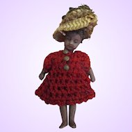 "Tiny 3"" German strung miniature black lady doll with elaborate hat and original costume and hair"