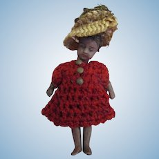 """Tiny 3"""" German strung miniature black lady doll with elaborate hat and original costume and hair"""