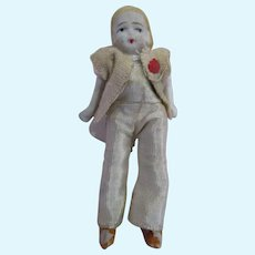 "Tiny pin jointed arms and legs bisque doll 2-7/8"" dollhouse miniature original outfit"