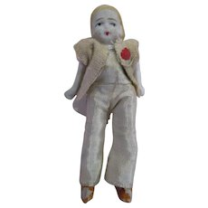 """Tiny pin jointed arms and legs bisque doll 2-7/8"""" dollhouse miniature original outfit"""