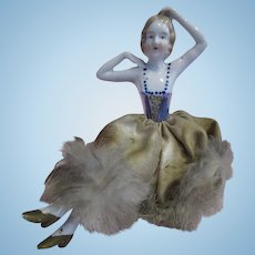 Beautiful Antique half doll on pin box arms away with legs fur trim dress