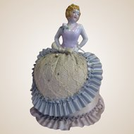 "7"" German Porcelain pin cushion half doll original lady arms away"