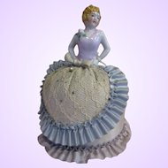 "7"" German Porcelain pin cushion half doll original lady arms away"
