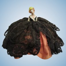Tiny miniature black lace porcelain pin cushion hall doll Germany with arm behind back