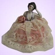 Vintage lace covered porcelain half doll pin cushion Germany arms away one arm down her side