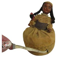 Vintage Native American Indian sewing pin cushion doll with tape measure in skirt