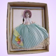 Vintage pin cushion half doll in original display box porcelain unused