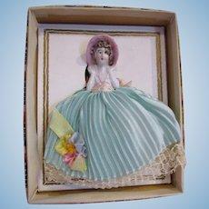 Vintage pin cushion half doll in original display box porcelain unused