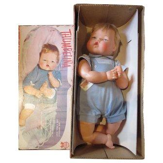 "Beautiful Large Thumbelina baby in box working 1960's baby doll 21"" Ott"