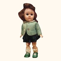 1950's Ginny doll with her watering can bent knee walker tagged dress