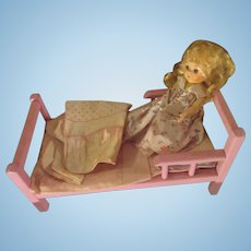 "1950's Ginny Doll wooden original bed with bedding cozy Pink furniture for 8"" doll"