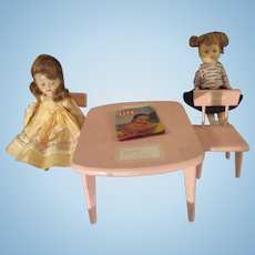 Vintage wooden pink 1956 Ginny doll chairs and table set with 2 friends extras