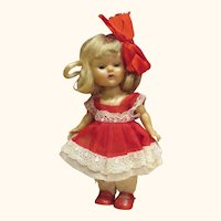 1950's Painted lash Ginny walker doll straight leg with tagged gorgeous dress Medford