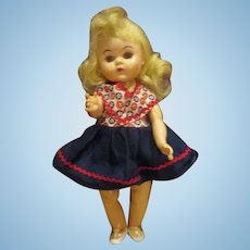 Vintage 1950's PAM or Virga Ginny Clone doll in rick rack red white and blue dress