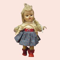 Super cute painted lash straight leg walker Ginny doll 1950's in Nancy Ann tagged outfit