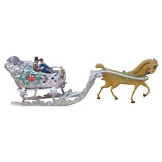 German filigree silver metal dollhouse miniature Christmas sleigh ride horse