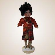 "Small Germany R bisque and porcelain original scottish highlander doll 9"""