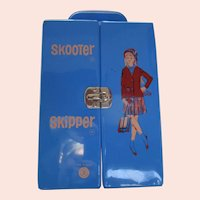 RARE Skipper and Skooter Barbie doll case Made in France European version in blue 1960's