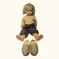 """Italian made composition bisque flirty eye Dutch child doll with wooden shoes 27"""" smokes pipe"""