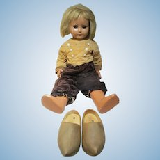 "Italian made composition bisque flirty eye Dutch child doll with wooden shoes 27"" smokes pipe"