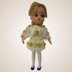 "Vintage 1960's Hasbro Dolly Darlings Honey Doll Liddle Kiddles era 4.5"""