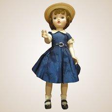 "Madame Alexander Binnie Walker 18"" in blue taffeta tagged dress"