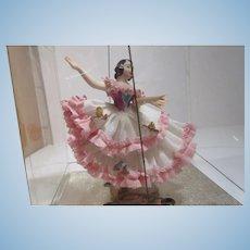 Vintage elegant Dresden lace porcelain lady dancing figure still in original package