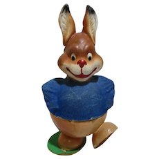 Vintage old West Germany Paper Mache Easter Bunny Candy container jolly cute!