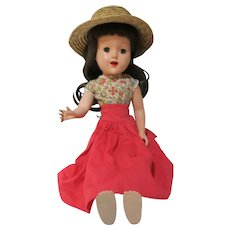 """Vintage 17"""" unmarked plastic pin jointed doll with vintage dress pretty!"""