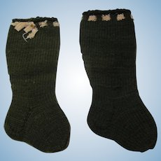 Vintage German doll socks olive green ribbon on top