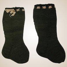 Vintage German doll socks olive green ribbon on top