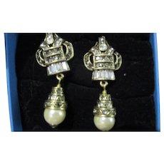 Heidi Daus glamorous simulated pearl drop earrings signed